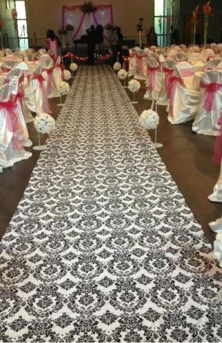 25ft Flocking Damask Taffeta Wedding Aisle Runner Black White Flocked 3D Fabric