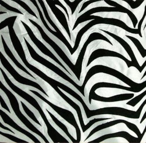 50 Yards White Black Flocking Zebra Taffeta Fabric 150 ft Flocked Animal Print""
