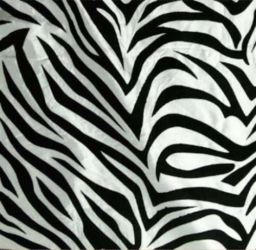 50 Yards White Black Flocking Zebra Taffeta Fabric 150 ft Flocked Animal Print
