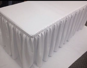 5' Fitted Polyester Double Pleated Table Skirting Cover w/Top Topper  WHITE""