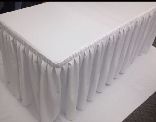 5' Fitted Polyester Double Pleated Table Skirting Cover w/Top Topper  WHITE
