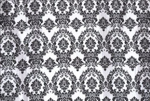 "25 Yards Black White Flocking Damask Taffeta Velvet  Fabric 58"" Flocked Decor"""