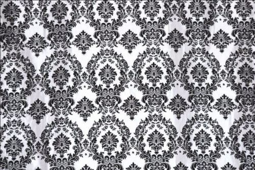 25 Yards Black White Flocking Damask Taffeta Velvet  Fabric 58