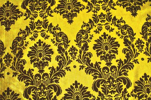 25 Yards Yellow Black Flocking Damask Taffeta Velvet Fabric 58