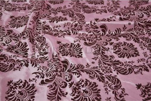 15 Yards Pink Brown Flocking Damask Taffeta Velvet  Fabric 58