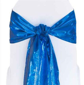 "Tissue Lame Chair Sashes 6"" X108"" Bow Metallic 100% Polyester 8 Colors Wedding"