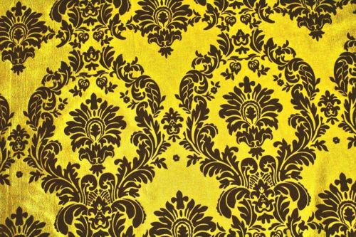 5 Yards Yellow Black Flocking Damask Taffeta Velvet Fabric 58