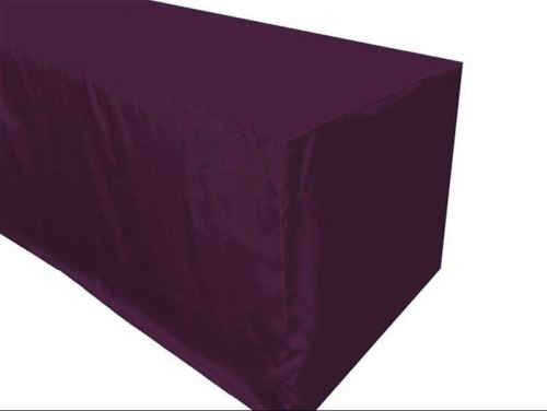 8' Ft. Fitted Polyester Table Cover Trade Show Booth Tablecloth Eggplant Purple