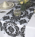 "30 Pack Flocked Taffeta Damask 12"" x 108"" Top Table Runner Black White Wedding"""