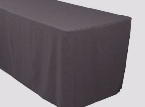 4' Ft. Fitted Polyester Table Cover Trade Show Banquet Tablecloth Charcoal Grey