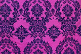 "5 Yards Fuchsia Black Flocking Damask Taffeta Velvet  Fabric 58"" Flocked Decor"""