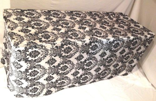 4' ft. Fitted Black White Damask Flocked Taffeta Tablecloth table cover Wedding