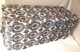 4' ft. Fitted Black White Damask Flocked Taffeta Tablecloth table cover Wedding""