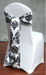 150 Pack Black White Damask Taffeta Chair Sashes Bows Wedding Flocking Flocked""