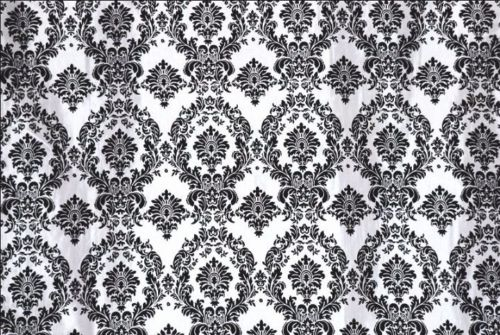 5 yards Black White Flocking Damask Taffeta Velvet 15f Fabric 58