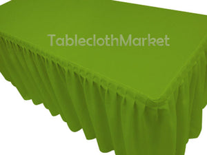 6' Fitted Polyester Single Pleated Table Skirting Cover W/top Topper 24 Colors