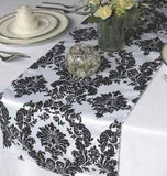 "50 Pack Flocked Taffeta Damask 12"" x 108"" Top Table Runner Black White Wedding"""