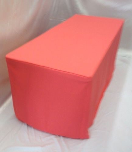 8' Ft. Fitted Polyester Tablecloth Wedding Event Table Cover Coral Pink / Orange
