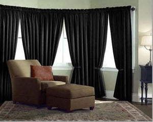 Velvet Curtain Panel Drape 24W x 8H Black Home Theater Energy Efficient Curtain""