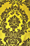 "5 Yards Yellow Black Flocking Damask Taffeta Velvet Fabric 58"" Flocked Decor"""