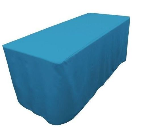 4' Ft. Fitted Polyester Table Cover Trade Show Event Tablecloth Turquoise Blue