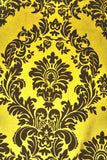 "25 Yards Yellow Black Flocking Damask Taffeta Velvet Fabric 58"" Flocked Decor"""