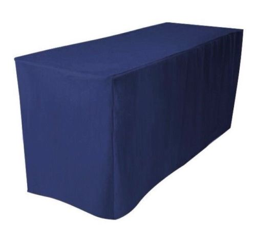 4' Ft. Fitted Polyester Table Cover Booths Banquet Trade Show Tablecloth Navy