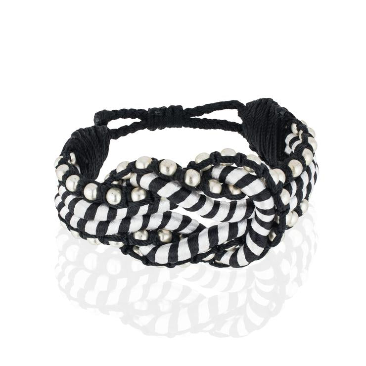 Sequence Collection - Open Knot Beaded Bracelet - Striped