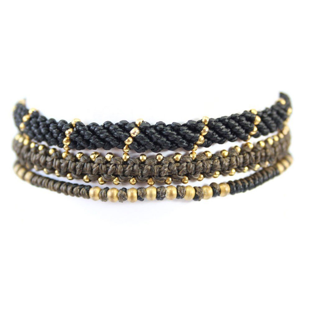 Wakami - Circle of Life – Set of 3 Bracelets – Black/Brown/Gold