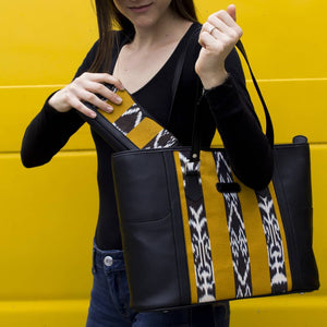 Morello - Tote Bag - Black with Yellow, Black & White Jaspe