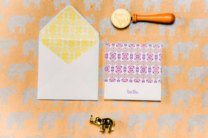 "Elephant Press - Card Set - ""Hello"" Guatemalan Huipil Design (8 Cards & Envelopes)"