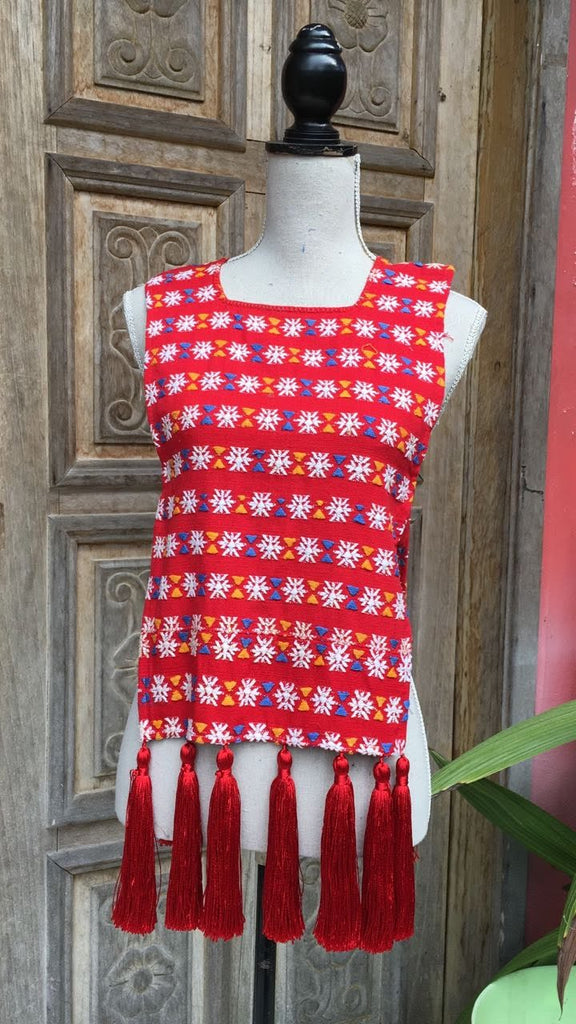 Down to Xjabelle - Red & White Bib with Tassels