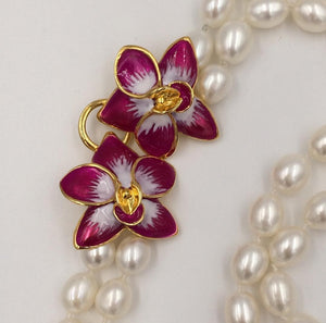 Eleonora Varini - Pearl Necklace with Orchids