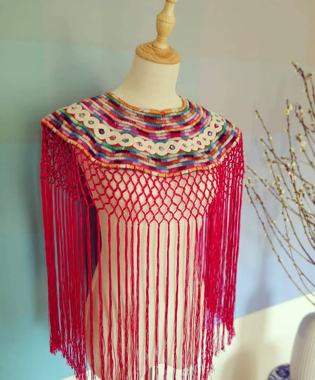 Down to Xjabelle - Pink Huipil Collar with Fringes