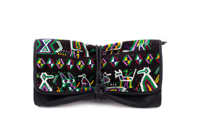 MARIAS by Alida Boer - Black Bow Clutch with Nebaj Textile