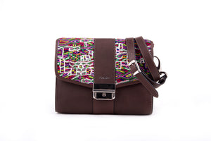 MARIAS by Alida Boer - Mini Fausto Bag in Brown Leather & Nebaj Huipil