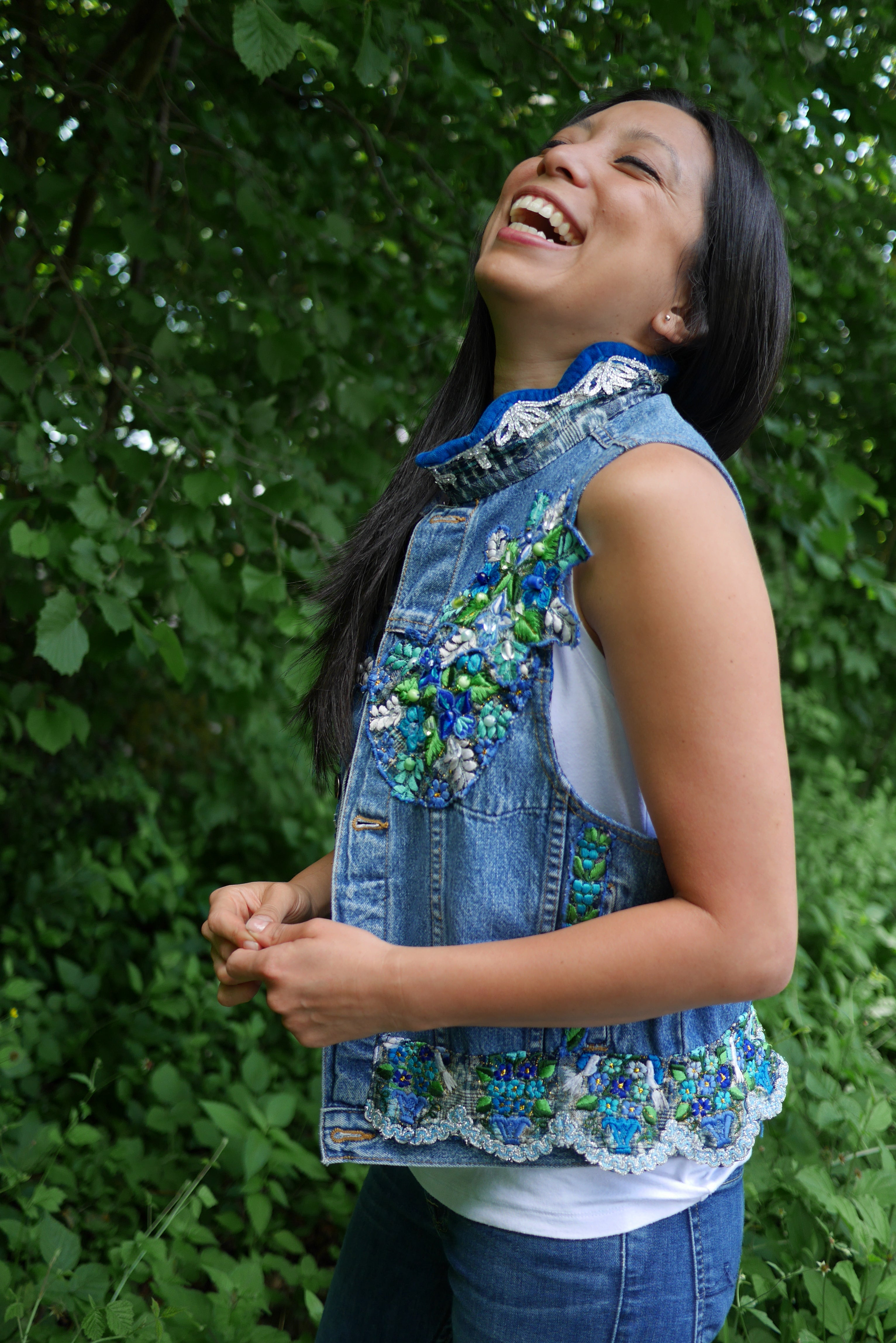 Down to Xjabelle - Upcycled Jeans Vest with Huipil Details