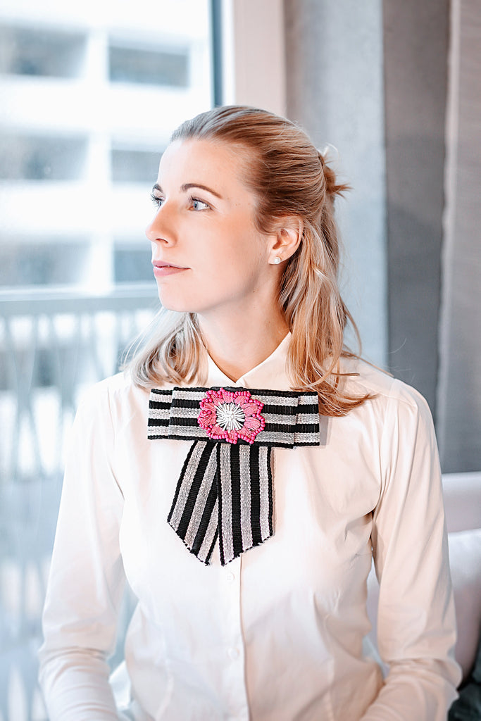 Down to Xjabelle - Black & White Bow Brooch with Pink Embroidered Flower