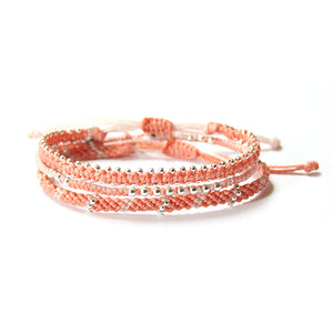 Wakami - Circle of Life – Set of 3 Bracelet – Peach/Silver