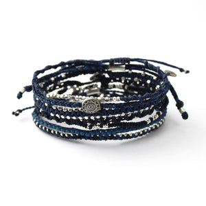 Wakami - Women's Earth Bracelet- Set of 7 Strands - Blue