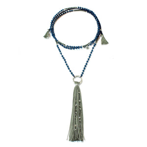 Wakami - Tassel Necklace - Green/Grey Tassel and Blue Necklace
