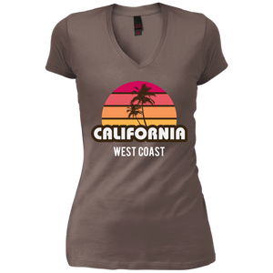 California West Coast Womens Cotton Comfy Vintage Wash V-Neck T-Shirt