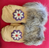 RAFFLE TICKETS - Beautiful deer hide mittens with wolf fur created by Mi'kmaw artist Jamie Condo Metallic