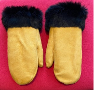 RAFFLE TICKETS - Deer hide and black rabbit fur mittens by Sayisi Dene First Nation artist, Shannon Macmillan