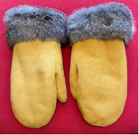 RAFFLE TICKETS -  Deer hide and grey rabbit fur mittens by Sayisi Dene First Nation artist, Shannon Macmillan