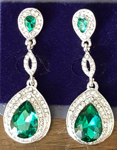 Earrings, green and clear rhinestone posts #1