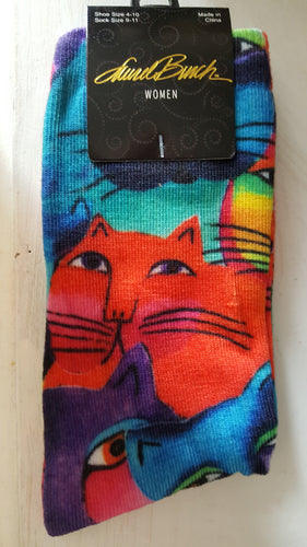 Cat socks, Laurel Burch, Cat faces