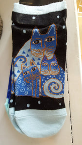 Cat socks, Two pack footies, Laurel Burch