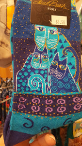 Cats socks, Indigo cats, Laurel Burch