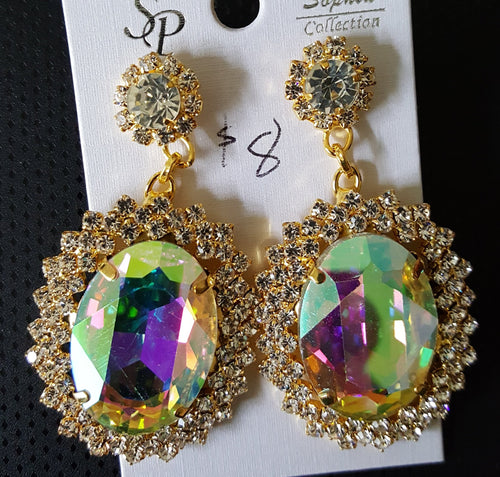 earrings, A/B rhinestone post Lg stone #1